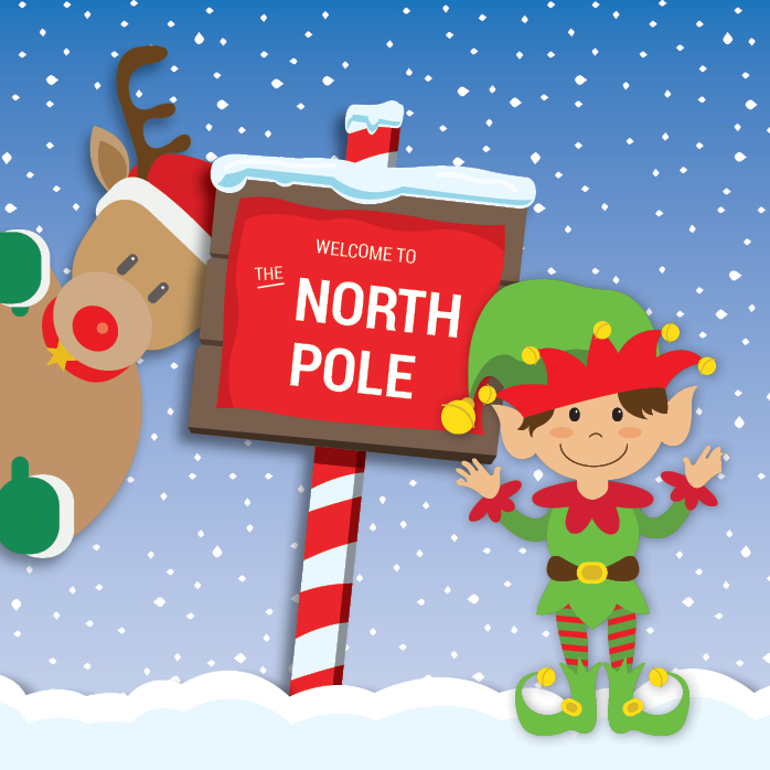 Elf and reindeer in front of a North Pole sign
